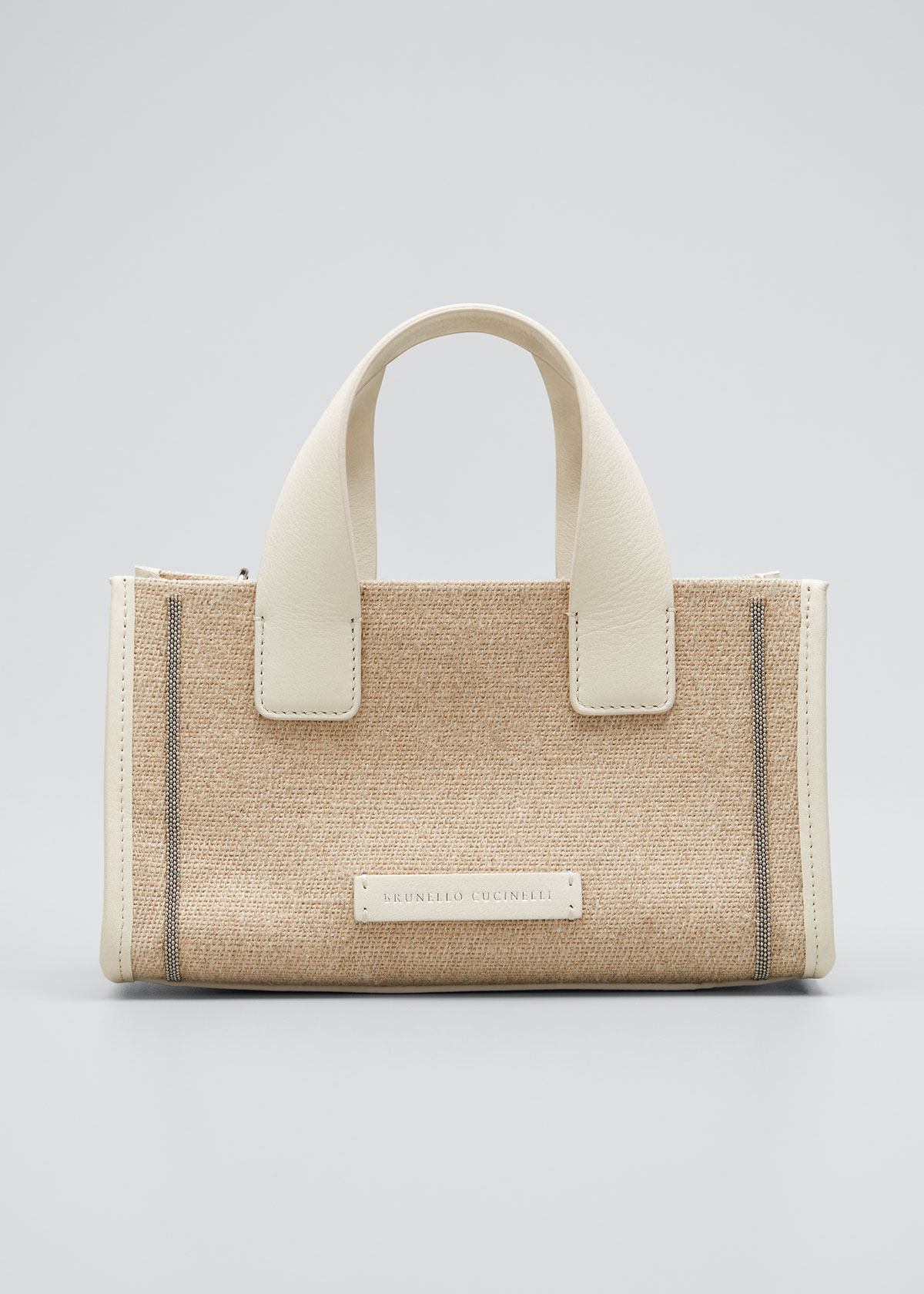Brunello Cucinelli Leathers MICRO EAST-WEST CANVAS CROSSBODY TOTE BAG
