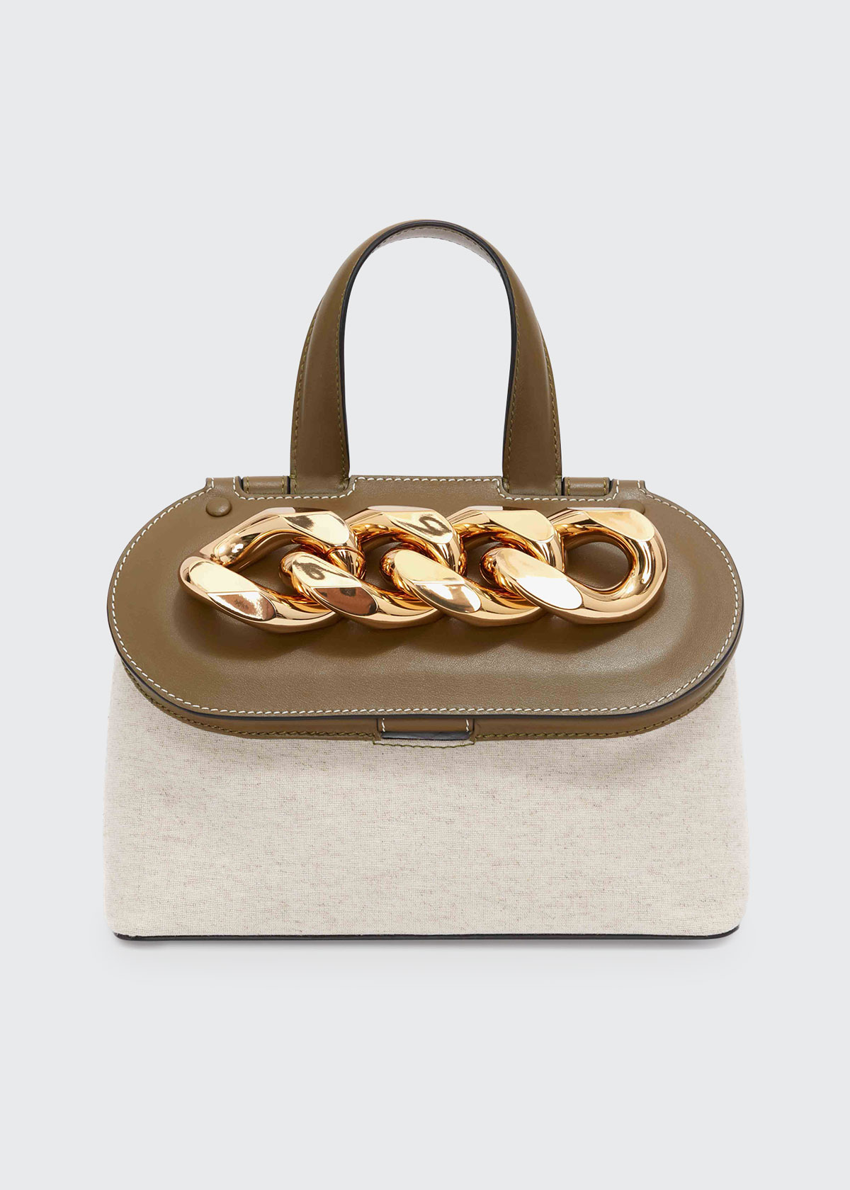 Jw Anderson Leathers SMOOTH LEATHER & CANVAS CHAIN LID SHOULDER BAG