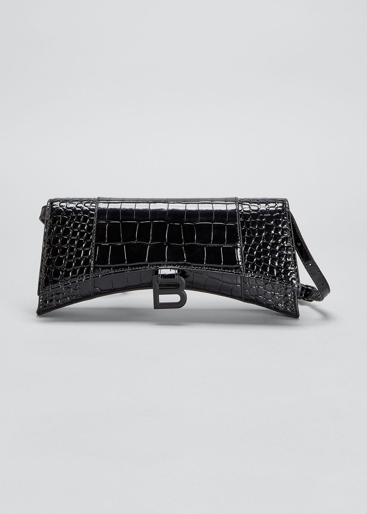 Balenciaga Shoulder bags HOURGLASS SLING MOCK-CROC LEATHER SHOULDER BAG