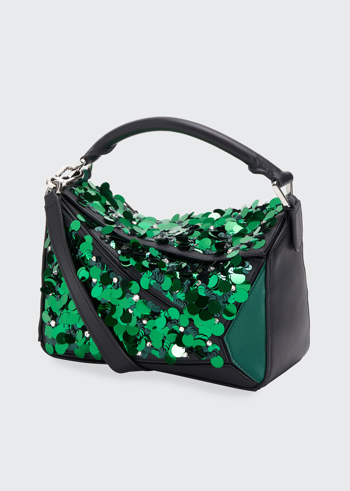 Loewe Leathers PUZZLE SMALL SEQUINS SATCHEL BAG