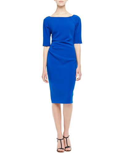 3/4-Sleeve Ruched Dress, Cobalt