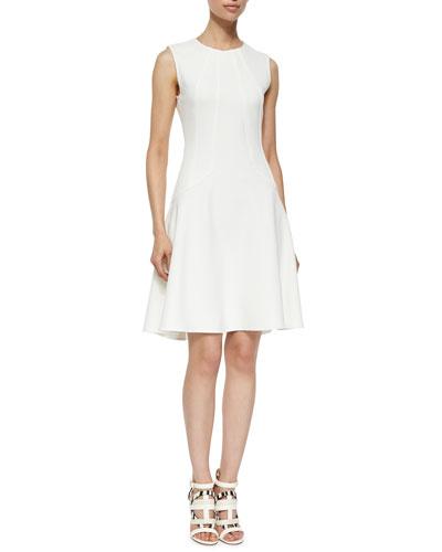 Seamed Drop-Waist A-Line Dress