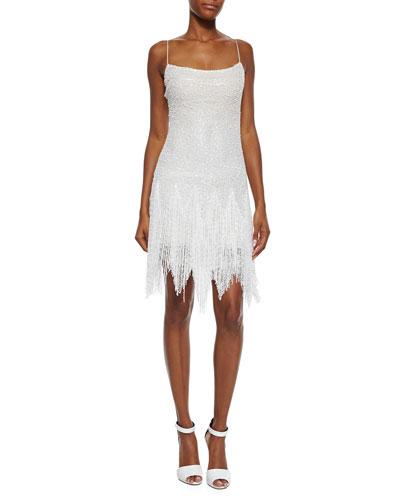 Allover Beaded Fringe-Skirt Dress