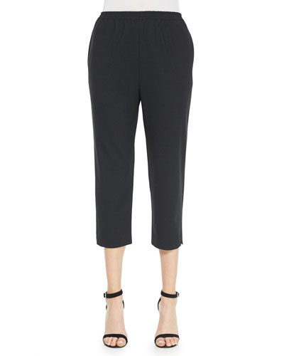 Cropped Narrow Slit-Cuff Trousers