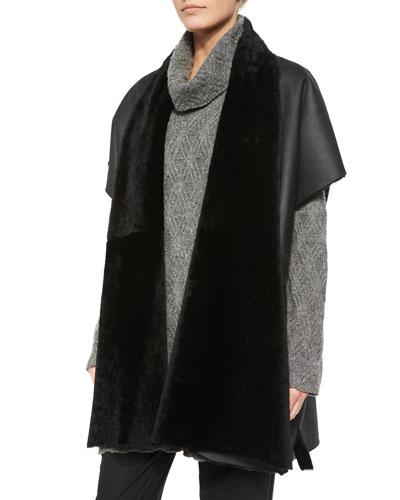Shawl-Collar Shearling Fur Tabard