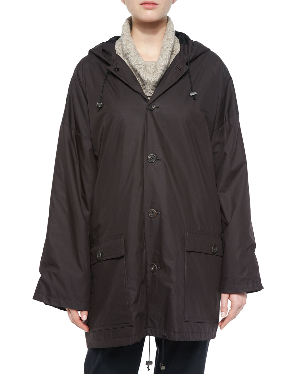 Hooded Lined Button Raincoat, Brown