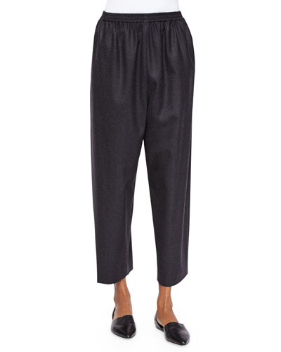 Japanese Tapered-Leg Cropped Trousers, Charcoal