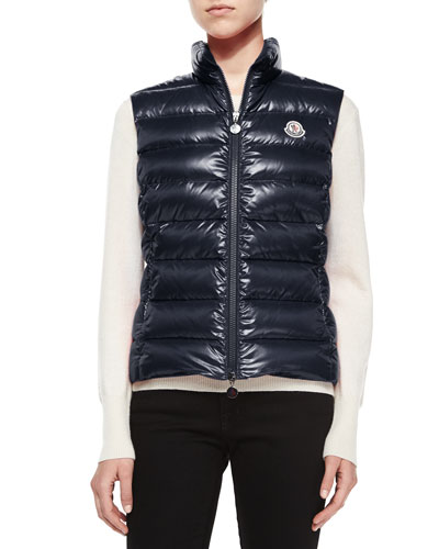 Ghany Shiny Quilted Puffer Vest, Navy