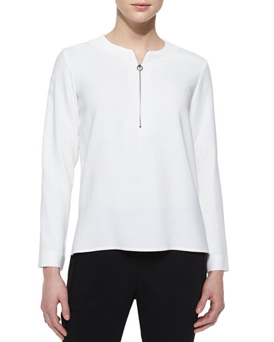 Zip-Front Long-Sleeve Blouse