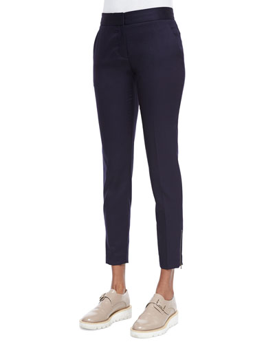 Vivian Skinny Suiting Zip-Cuff Ankle Pants, Navy