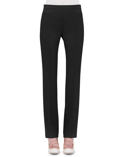 Francoise Straight-Leg Pants, Black