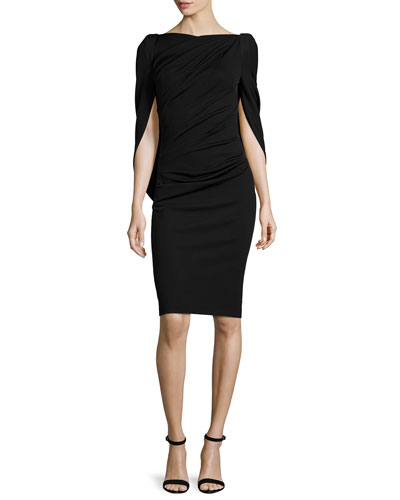 Konica Cowl-Back Ruched Cocktail Dress, Black
