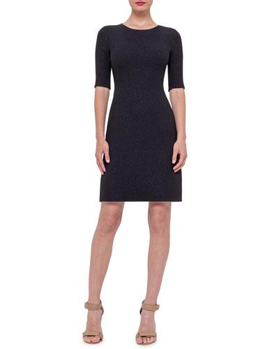 Half-Sleeve Wool-Crepe Dress, Black