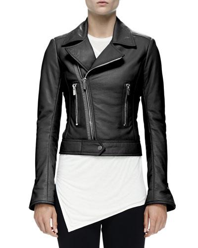 Cropped Leather Moto Jacket, Black