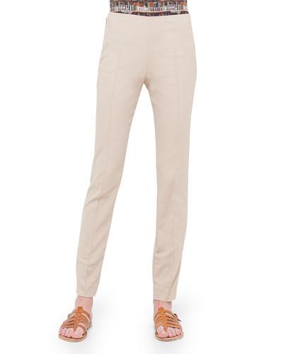 Mid-Rise Slim-Leg Pants, Sand