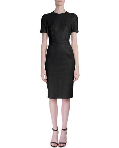 Short-Sleeve Seamed Leather Dress, Black