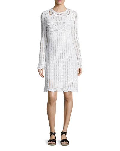 Harriet Crocheted Long-Sleeve Dress, White