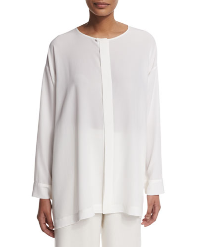Slim A-Line Round-Collar Blouse, White