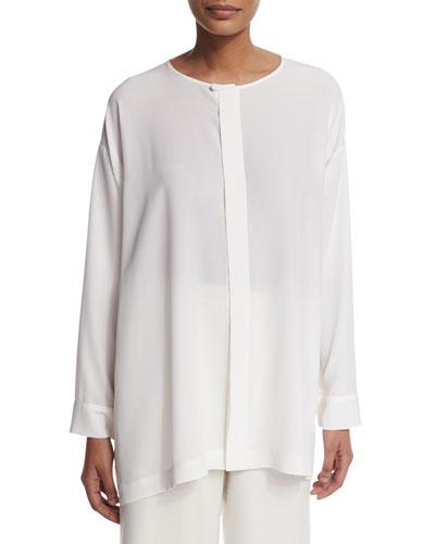 Slim A-Line Round-Collar Blouse, White