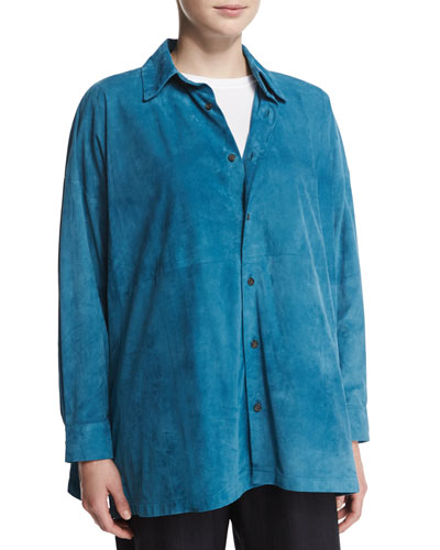 Lightweight Suede Button-Down Shirt, Marine