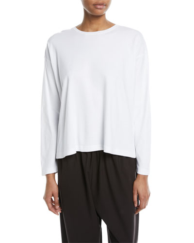 Long-Sleeve Pima Cotton Top, White