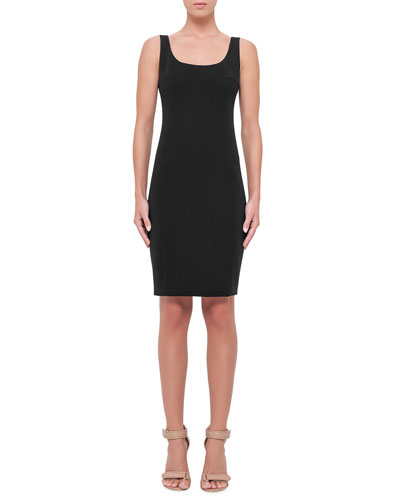 Sleeveless Scoop-Neck Sheath Dress, Black