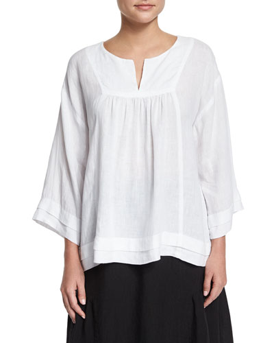 Artisan-Pleated Handkerchief Linen Top, White