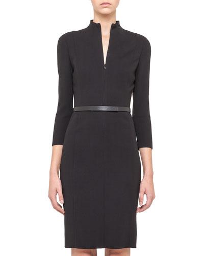 Split-Neck Double-Face Wool Sheath Dress, Black