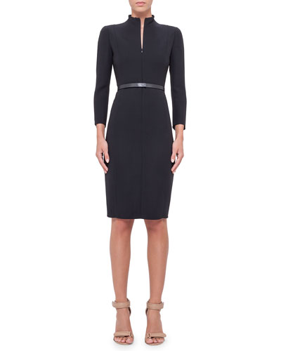 Split-Neck Double-Face Wool Sheath Dress, Navy