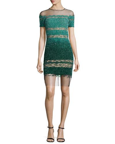 Short-Sleeve Signature Ombre Sequin Dress, Light Emerald