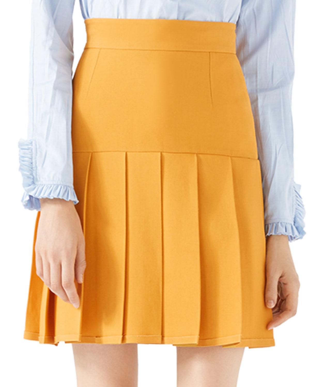 Silk-Wool Pleated Mini Skirt