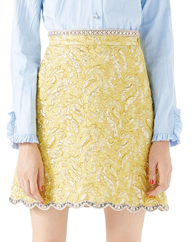 Metallic Floral Brocade Skirt