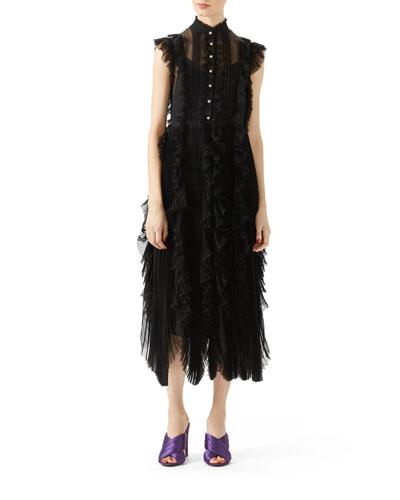 Silk Chiffon Embroidered Dress