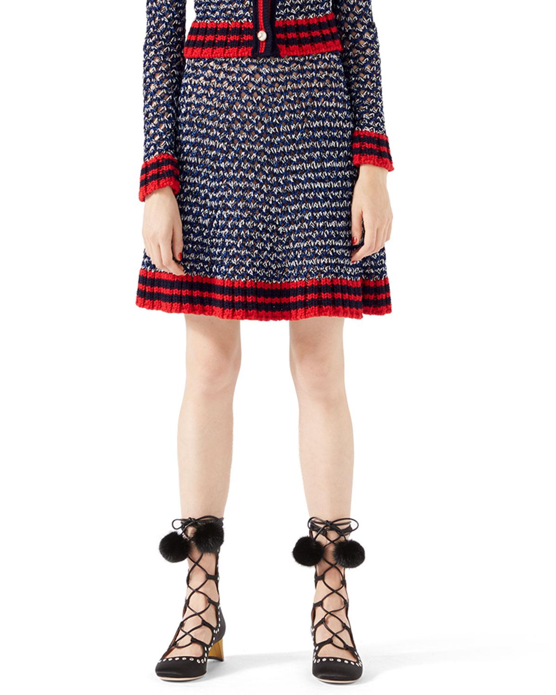 Metallic-Blend Skirt with Web Detail