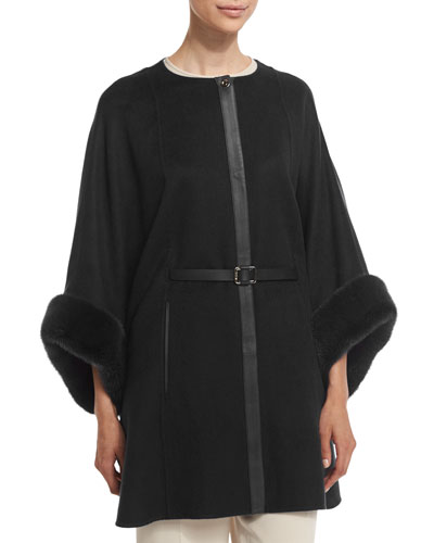 Margot Cashmere Cape with Mink Fur