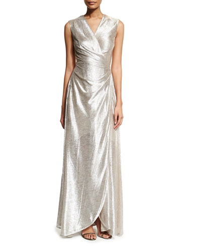 Koro Laminated Voile Wrap-Front Gown