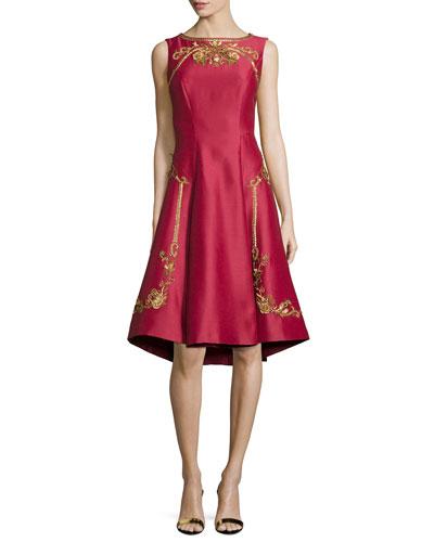 Sleeveless Shantung Cocktail Dress, Red