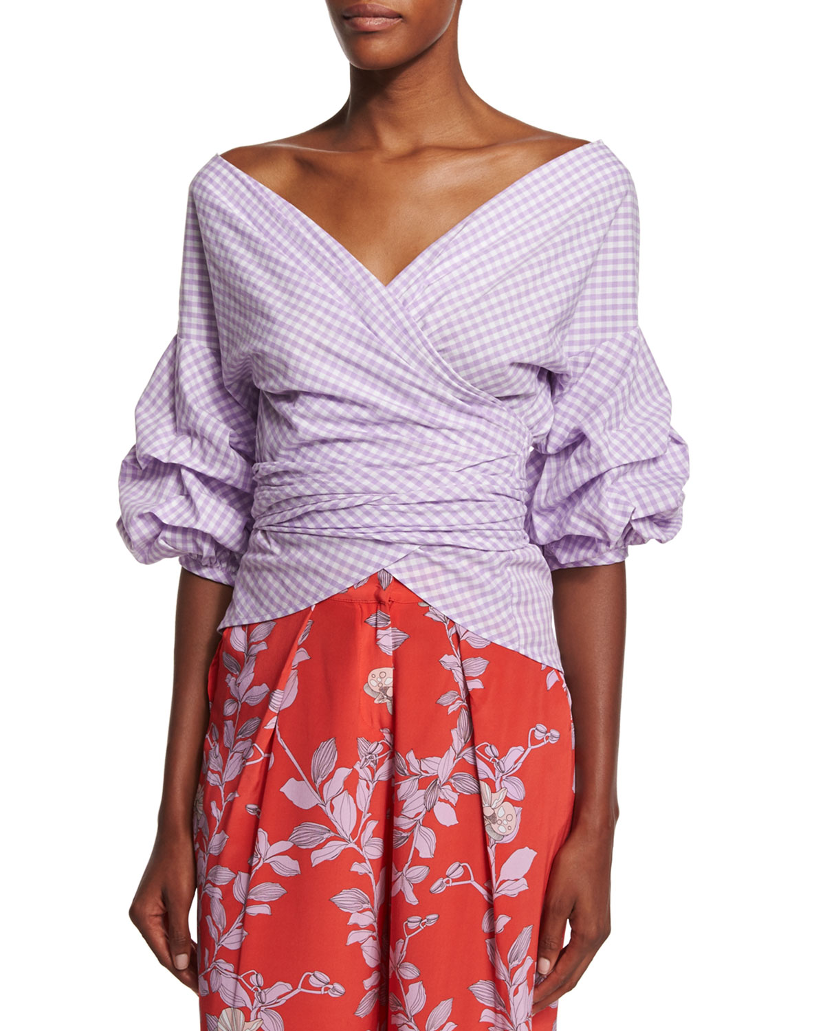 Gingham Wrap-Front Blouse, Lavender/White