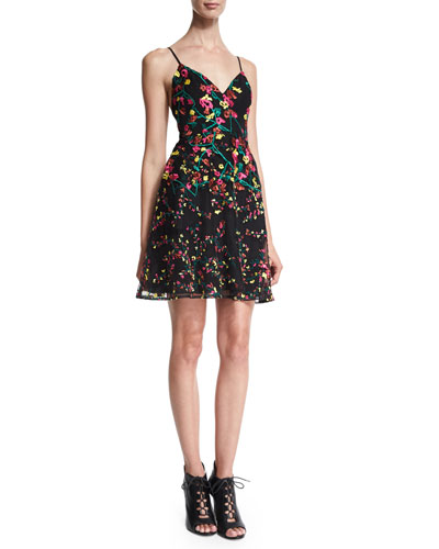Sleeveless Embroidered Fit-and-Flare Dress