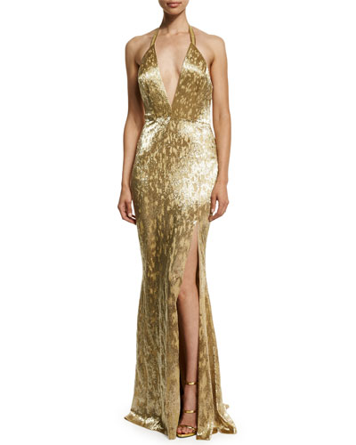 Metallic Hand-Beaded Halter Gown, Gold