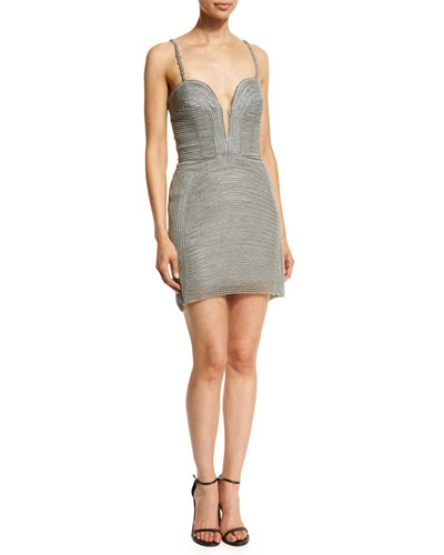 Plunging Sweetheart Swarovski® Pearl Dress, Gray