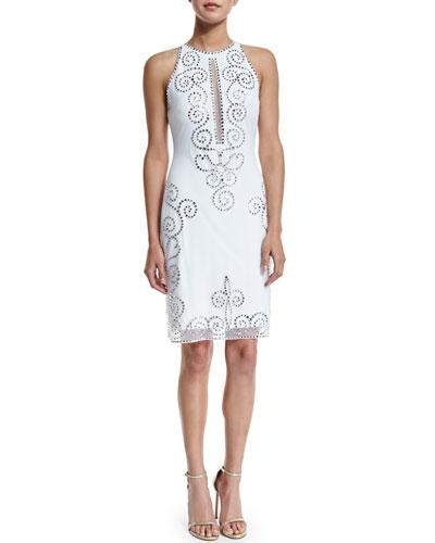Sleeveless Fishtail-Embroidered Cocktail Dress, White