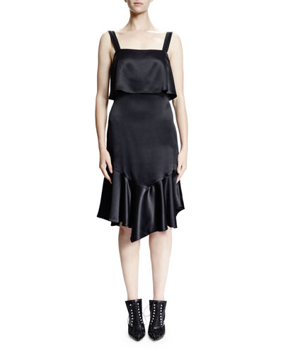 Sleeveless Open-Back Ruffled Satin Dress, Black