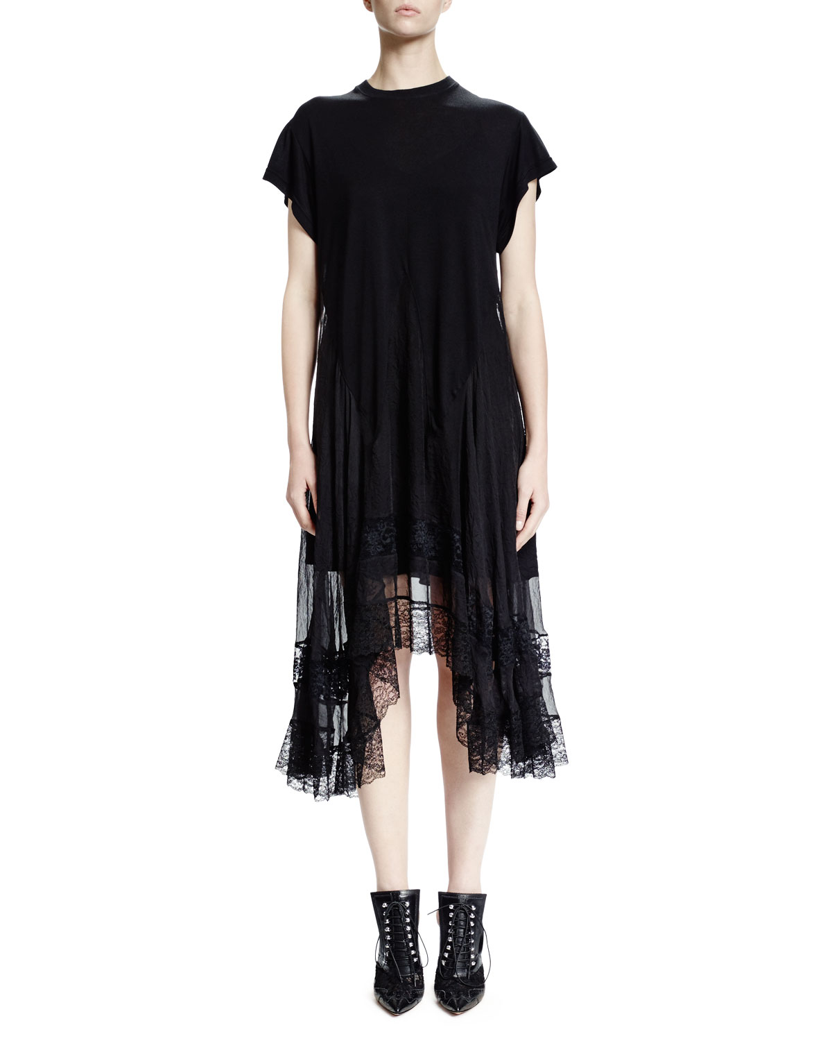 Short-Sleeve Asymmetric Lace-Trimmed Dress