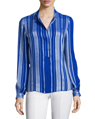 Printed Mandarin-Collar Blouse, Blue