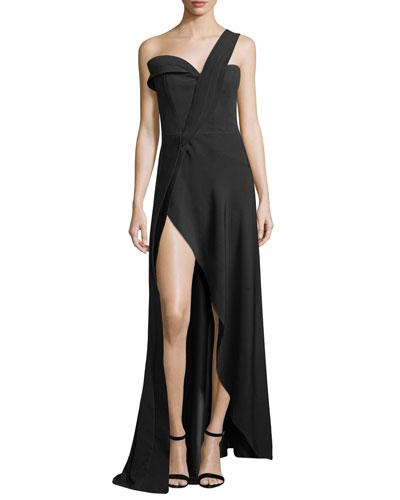 One-Shoulder High-Slit Crepe Gown, Black