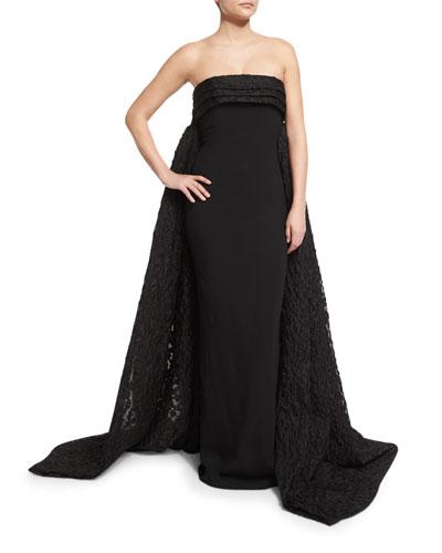Finale Strapless Crepe Lace Cape-Back Gown, Black