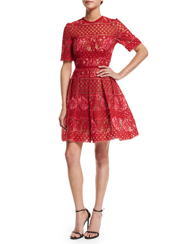 Crocheted Half-Sleeve Fit-and-Flare Dress, Lipstick/Peony