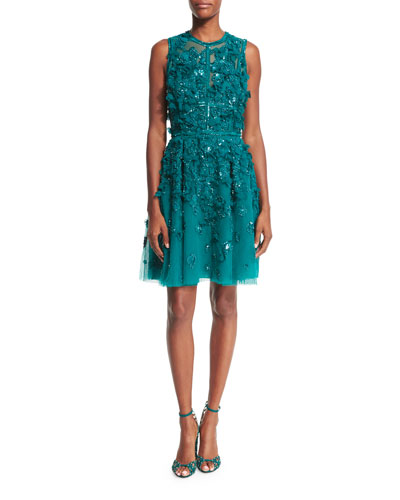 Sleeveless Embroidered Tulle Cocktail Dress, Imperial