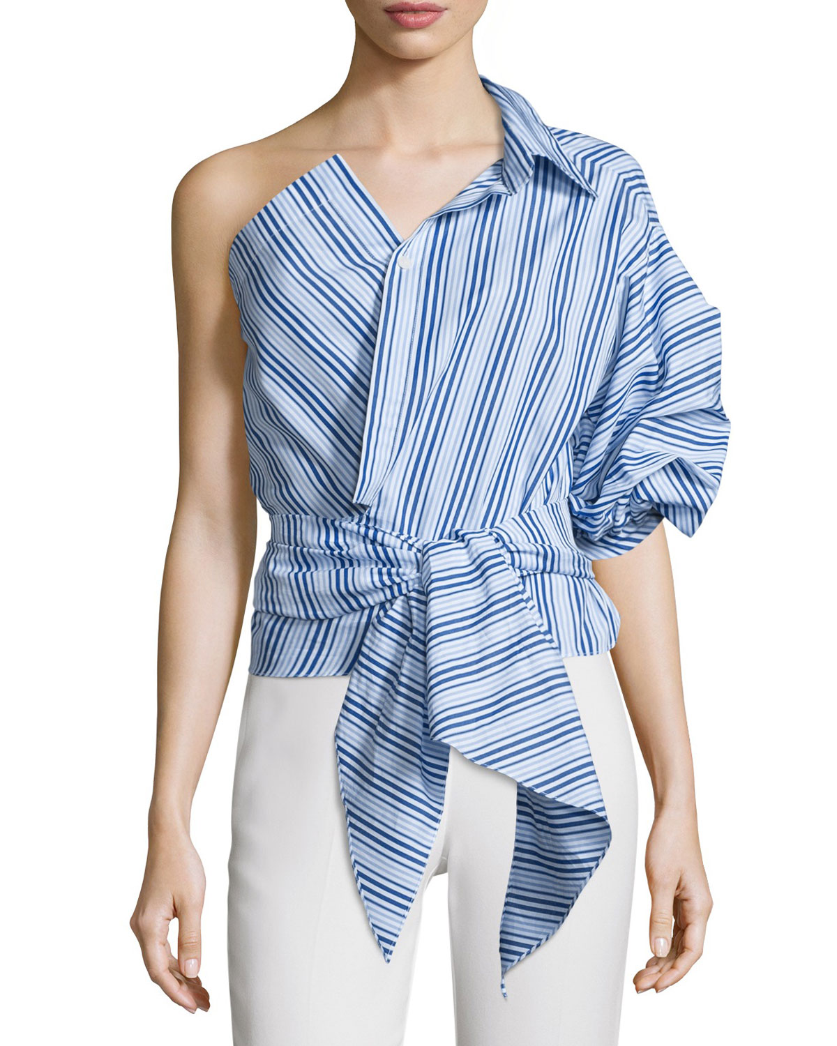 Sherlock Striped One-Sleeve Wrap-Front Top, Blue/White